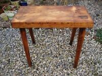 Antique,Timber, Stool,With Traditional Tapered and Wedged Legs.