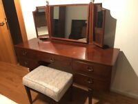 MAHOGANY BEDROOM SUITE SET DRESSING TABLE & HEADBOARD UNIT SOLID WOOD VERY GOOD CONDITION RETRO
