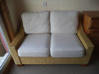 Two-seater Wicker Sofa with Cushions. Ideal for Conservatory, Kitchen or Lounge