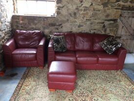 Soft Leather Sofa Chair and Footstool