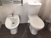 Ideal Standard Toilet and Bidet with Towel Radiator and Bathroom Cabinet