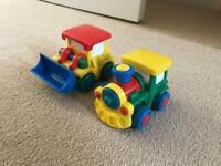 Train and bulldozer toys