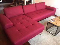 Vittorio Opera Red , Left hand facing corner sofa By MADE