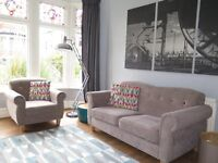 Taupe/Grey SOFOLOGY 'Collage' 2 Seater Sofa & Armchair Chair