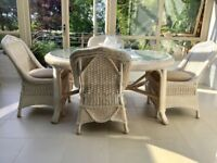 White dining table (plate glass top) & 4 chairs in ivory/white rattan