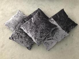Lilac crushed velvet cushions