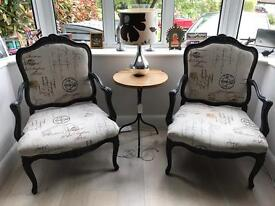 Pair of Louis Chairs Armchairs Reupholstered