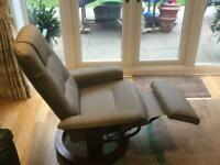 Reclining,swivel, faux leather chair