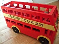 Le Toy Van Kids Red Wooden Double-decker London Red Bus Toy