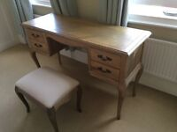 French inspired Finborough ash dressing table with matching stool