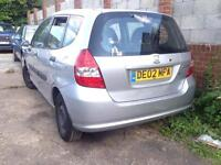2002 HONDA JAZZ 1.3 PETROL. BREAKING FOR PARTS SPARES ONLY. 5 Door. Silver. Paint code NH623M