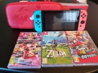 Nintendo switch like new, 3 games, case and screen protector
