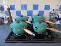 Le Creuset enamelled cast iron saucepans