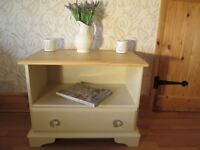 Shabby Chic Solid Pine TV/ Bedside Cabinet Laura Ashley Pale Linen. With Glass or Pine Knobs