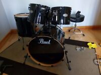 Pearl Vision VX Drum Kit Black 5 Piece Shell Pack + extras (like Export)