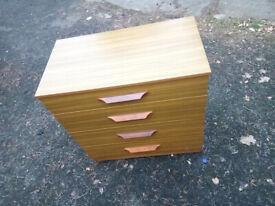 vintage retro chest of drawer, teak melamine 4 drawer cabinet, 1970's mid century