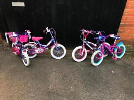 "Girls 14"" Wheel Bike, Serviced. £20 each, Free Local Delivery"