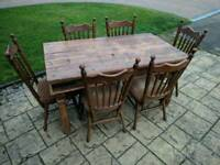 rustic farmhouse table and 6 Pynock chairs 1950s-1960s