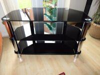 black glas tv stand
