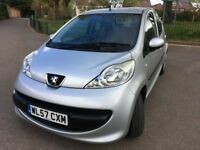 Great little FIVE DOOR Peugeot 107 Urban. 2007. Low Mileage at only 70500. Silver. Lovely condition.