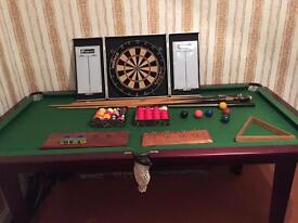 Pool / snooker table and dartboard