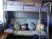 Metal bunk bed with sofa bed underneath