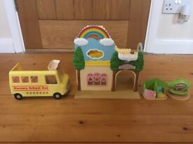 Sylvanian Families Rainbow Nursery & School Bus & Toilets (+ Accessories)