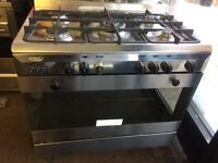 Stainless steel delonghi 90cm five burners gas cooker grill & oven good condition with guarantee