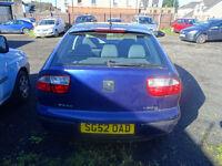 2002 RELIABLE SEAT LEON S HATCHBACK METALLIC BLUE CAR. FULL SERVICE HISTORY,LONG MOT NOT FORD VW