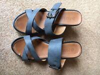 Blue Wedge Heel Summer Sandals - Size 5