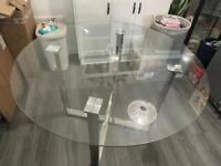 Glass round top kitchen/dining table