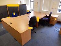 Pod 4 beech effect curved Desks,