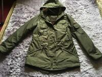 Ladies Barbour KELSALL Parka Waxed Jacket   Olive Brown UK size 10 used one time £40