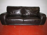 REAL LEATHER BROWN SOFA FREE DELIVERY IN LIVERPOOL