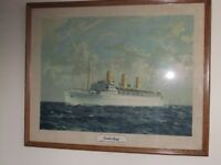 1930s Original Run Print by Norman Wilkinson, Empress of Scotland, Canadian Pacific Liner Framed