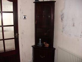 Mahogany Corner Display Unit by Coyles of Ireland.