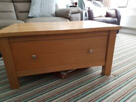 Solid Oak Coffee Table with 2 way draw.