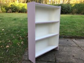 Hand painted vintage small bookcase in pink and white