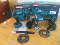 new makita 18v brushless combidrill + grinder. dhp480z+dga454z. dga454+dhp480 bare tools