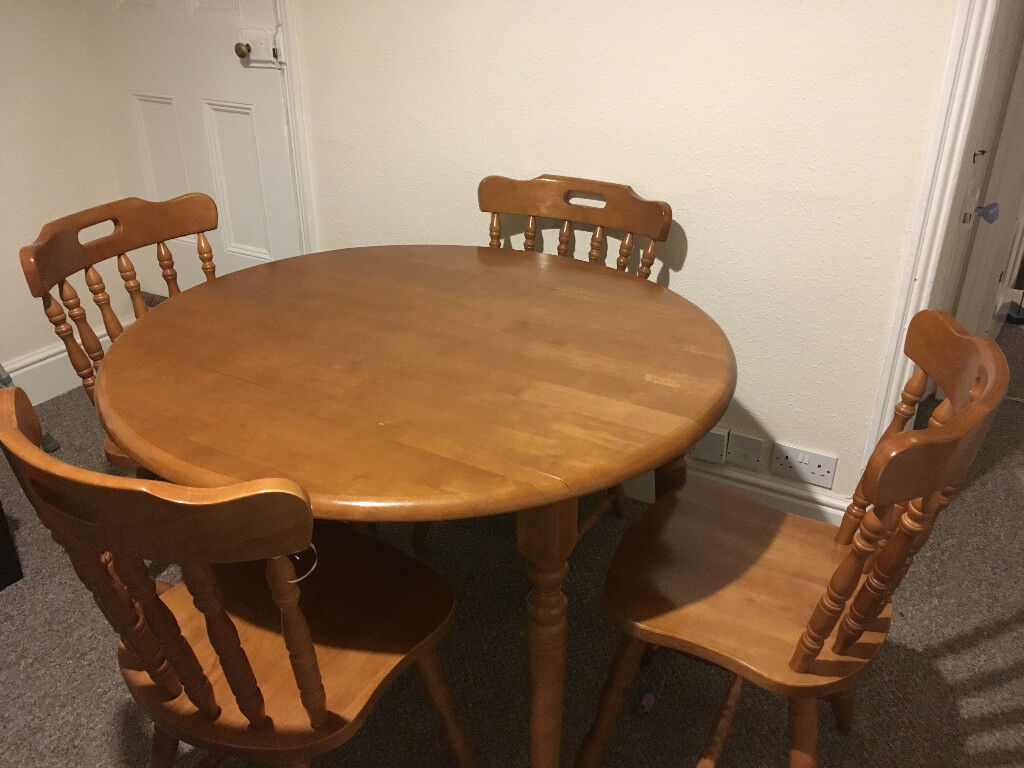 Solid Pine Drop Leaf Round Dining Table And 4 Chairs Used In