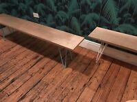 Wooden bench with hairpin legs