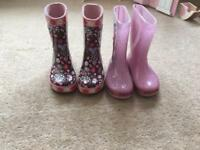 Size 8 girls wellies (2 pairs)-great condition!!