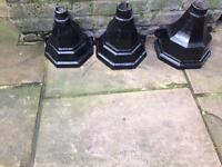 3 black cast iron water hoppers