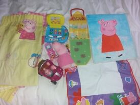 Peppa pig curtains picture and toys