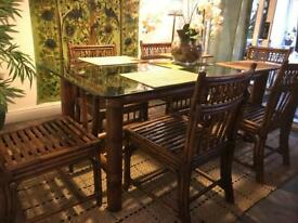 Beautiful Bamboo dining table with 6 Chairs