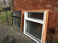 Free: 4 wooden framed windows 120cm x 120cm