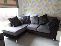 Fabric corner sofa with matching swivler chair