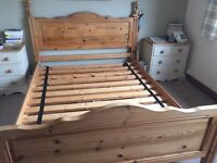 Solid pine king size bed can deliver