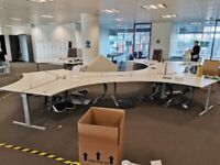 Hexagonal white 6-pod office desks with cable management and dividers