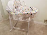 Clair de lune Moses basket and stand hardly used
